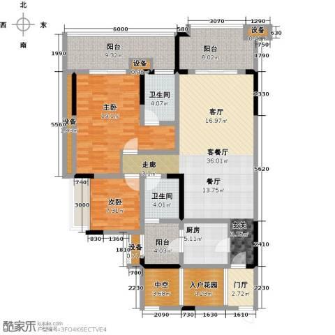 绿城上岛2室1厅2卫1厨110.64㎡户型图