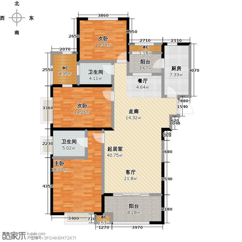 �锦世家135.00㎡D1户型3室2厅2卫