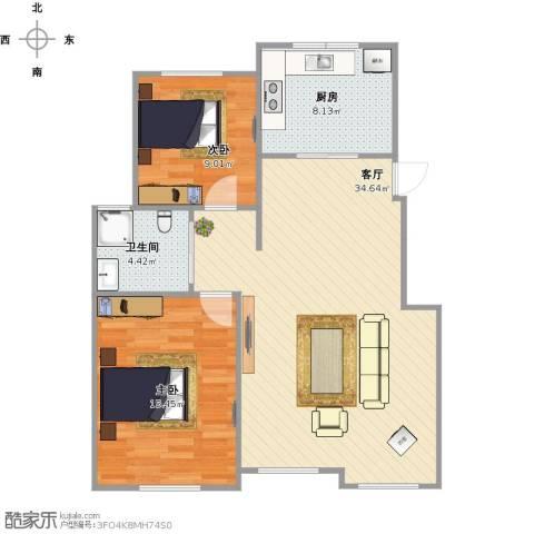 钰桥中央庭院2室1厅1卫1厨95.00㎡户型图