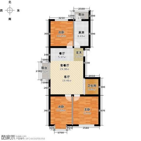 滨海未来城3室1厅1卫1厨103.00㎡户型图