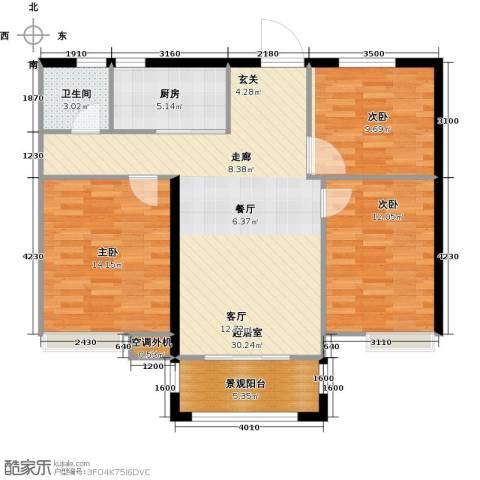 金榜府邸3室0厅1卫1厨104.00㎡户型图