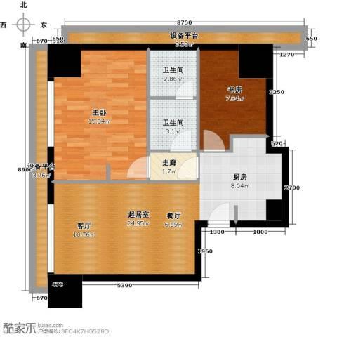 旷世国际2室0厅2卫0厨96.00㎡户型图