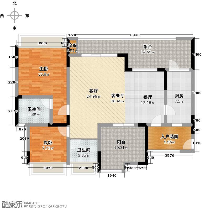 绿城上岛97.70㎡3号楼B-3户型3室2厅2卫 套内97.7㎡户型3室2厅2卫