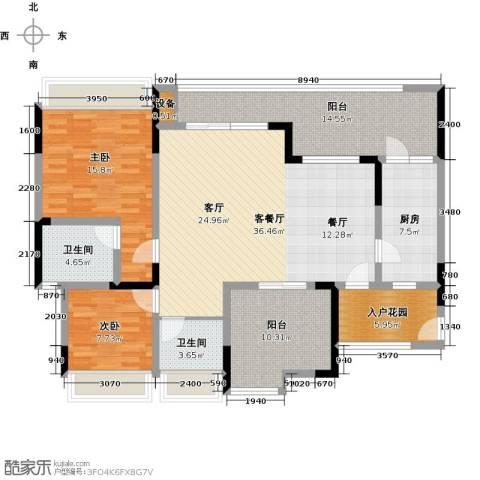 绿城上岛2室1厅2卫1厨107.09㎡户型图