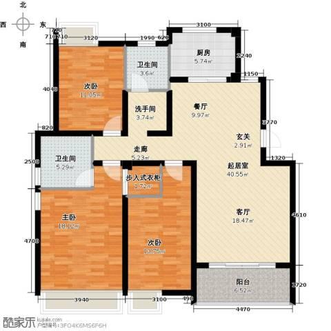 朗润春天3室0厅2卫1厨121.00㎡户型图