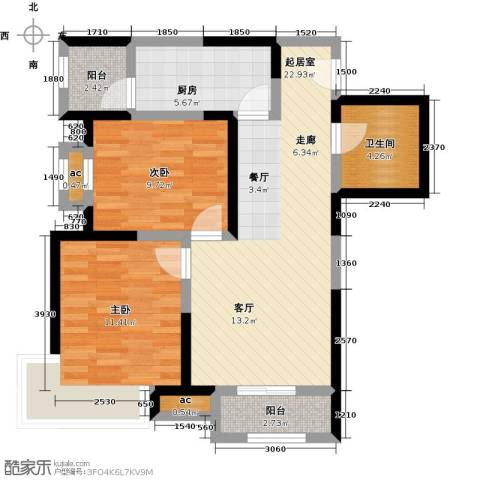 融科金月湾2室0厅1卫1厨89.00㎡户型图