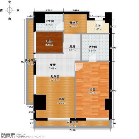 旷世国际2室0厅2卫0厨116.00㎡户型图
