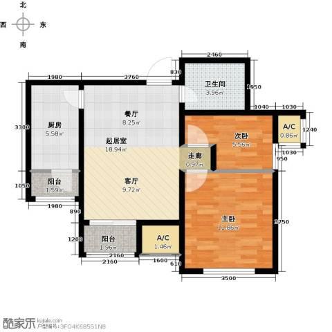 渤海天易园2室0厅1卫1厨75.00㎡户型图