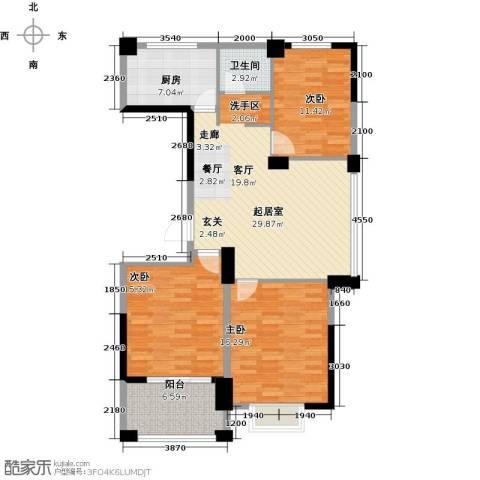 水岳・蓝山3室0厅1卫1厨127.00㎡户型图