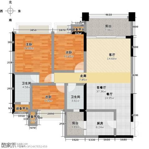君汇尚品3室1厅2卫1厨111.00㎡户型图