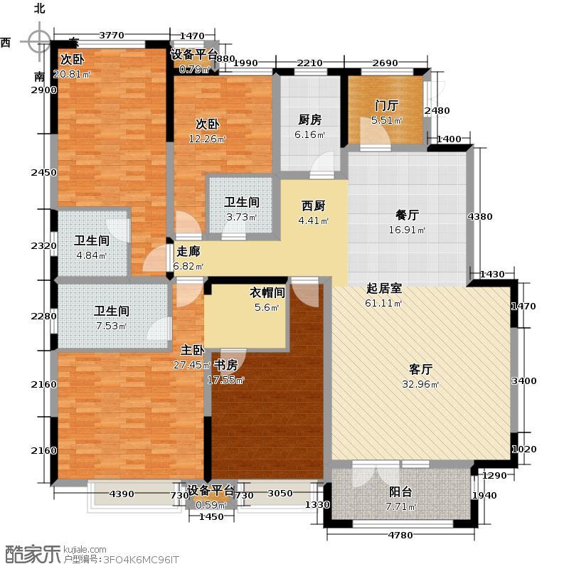 天安珑园198.00㎡一期洋房198平米A户型4室3厅3卫