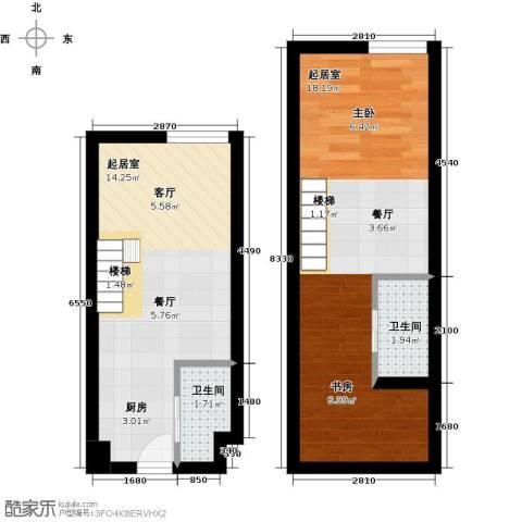 香城壹号2卫0厨42.00㎡户型图