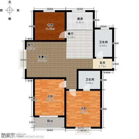 恋日晴园3室1厅2卫1厨145.00㎡户型图