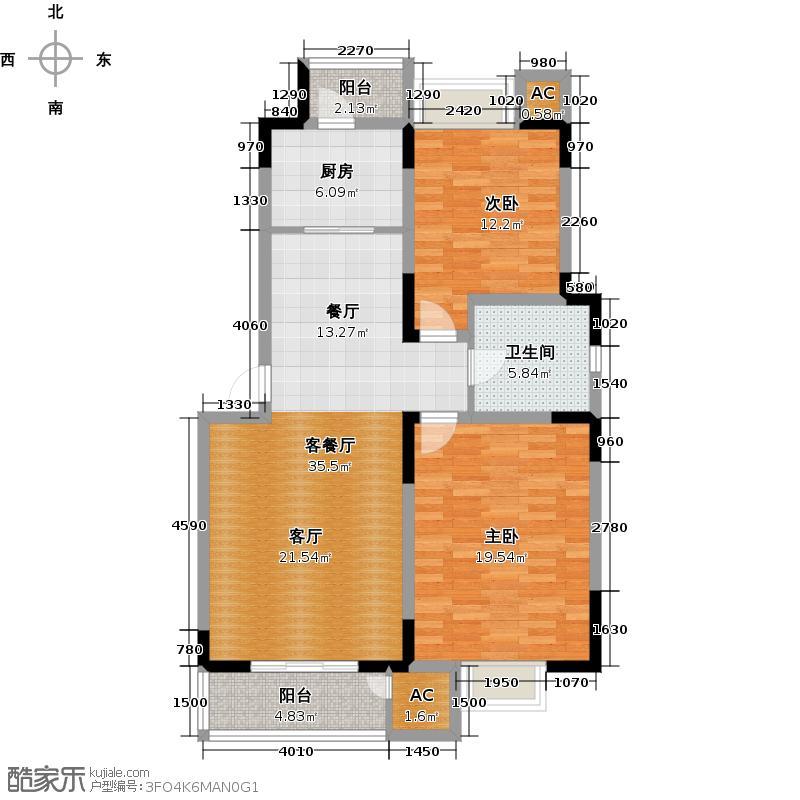 领世公馆109.00㎡A户型两室两厅一卫户型
