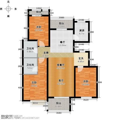 领世公馆3室1厅2卫1厨164.00㎡户型图