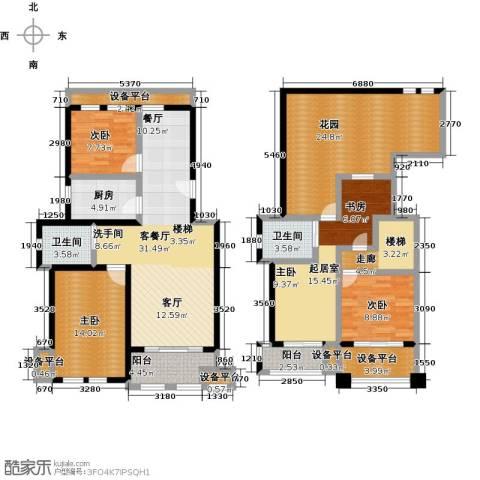叶与城3室1厅2卫1厨198.00㎡户型图