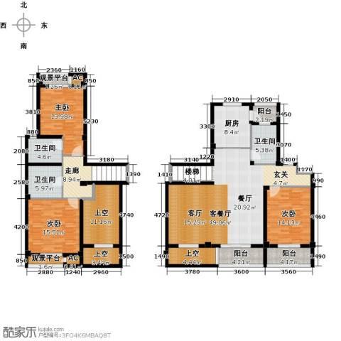 领世公馆3室1厅3卫1厨178.00㎡户型图