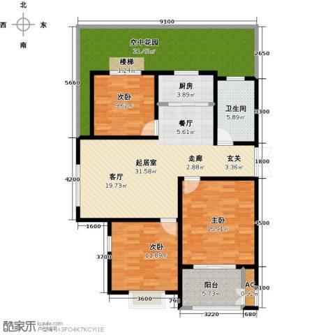 农房幸福小镇3室0厅1卫1厨151.00㎡户型图