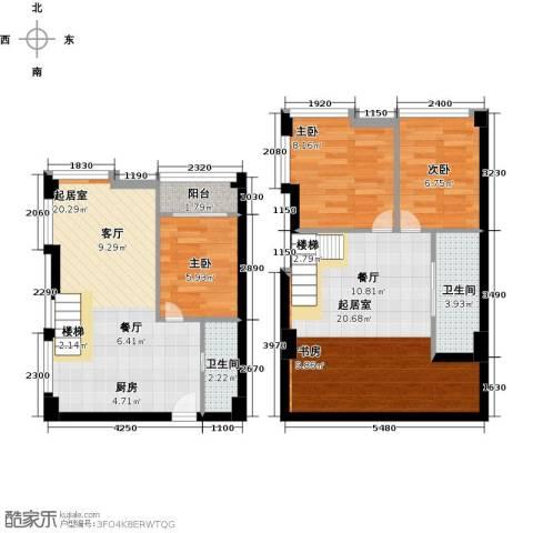 香城壹号3室0厅2卫0厨80.00㎡户型图