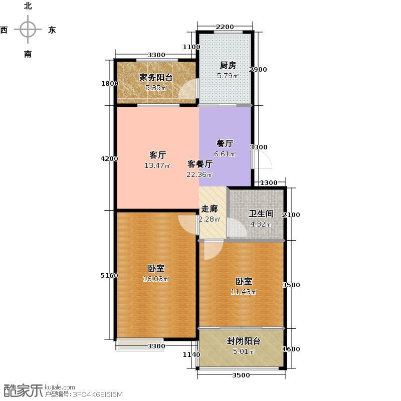 建泰香海府第76.77㎡F户型2室2厅1卫