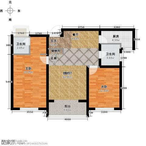 荣馨园2室1厅2卫1厨115.00㎡户型图