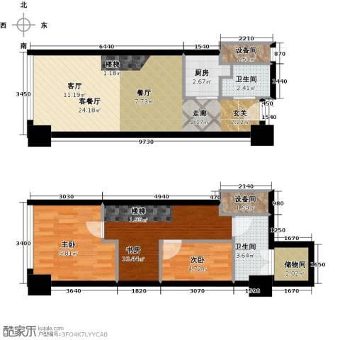喜年中心3室1厅2卫1厨74.00㎡户型图