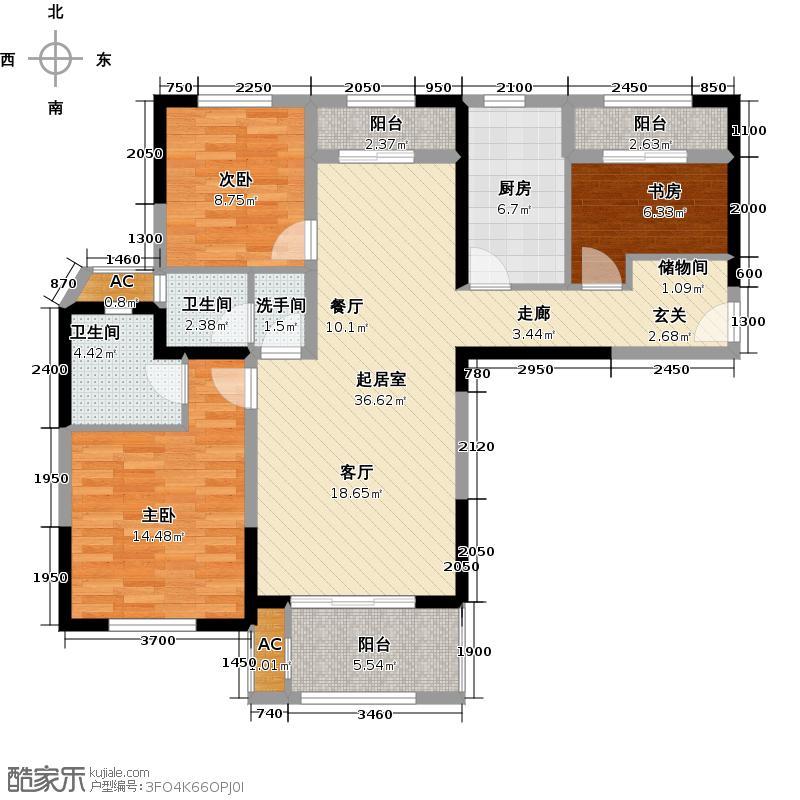 华润置地橡树湾123.00㎡A6新品5户型3室2厅2卫户QQ