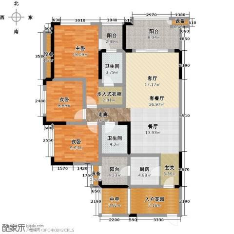 绿城上岛3室1厅2卫1厨123.00㎡户型图