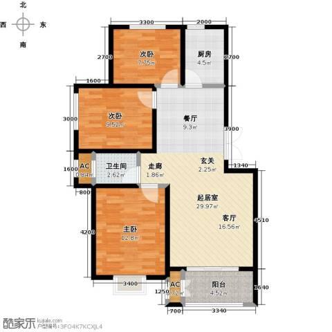 农房幸福小镇3室0厅1卫1厨104.00㎡户型图