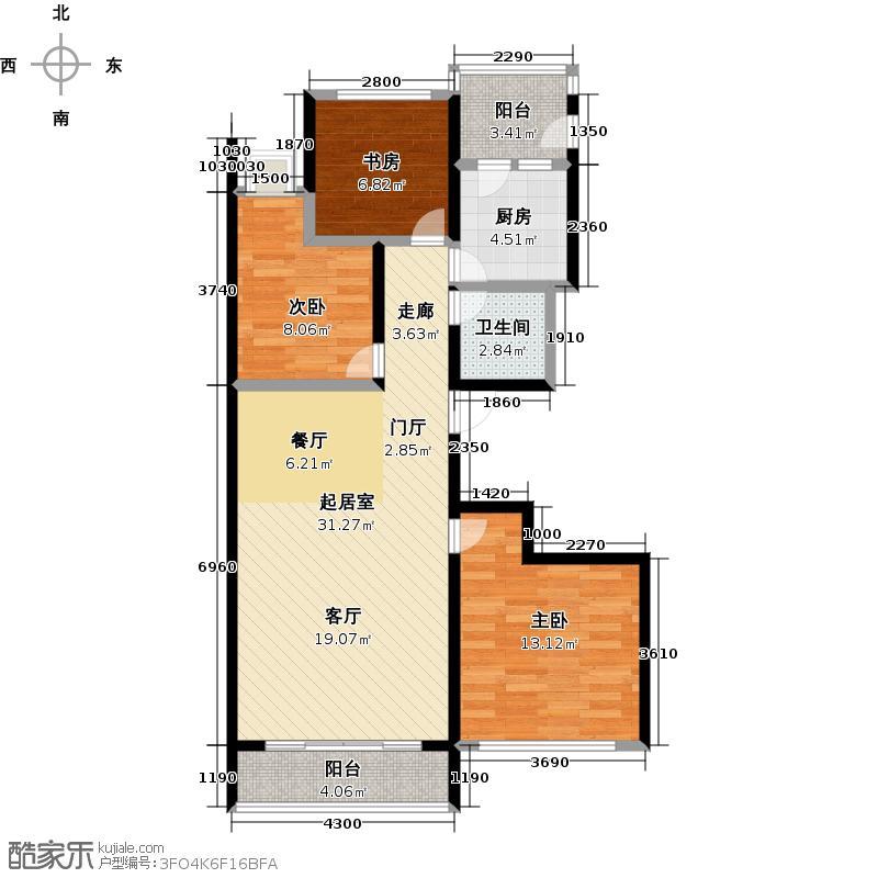 通德紫垣1.4号C制作 三室两厅一卫 124.97平米户型