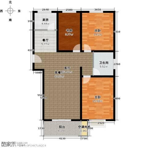 恋日晴园3室1厅1卫1厨107.67㎡户型图