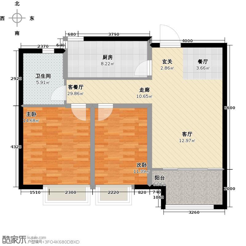 中建锦绣城86.00㎡G户型 两室两厅一卫户型2室2厅1卫