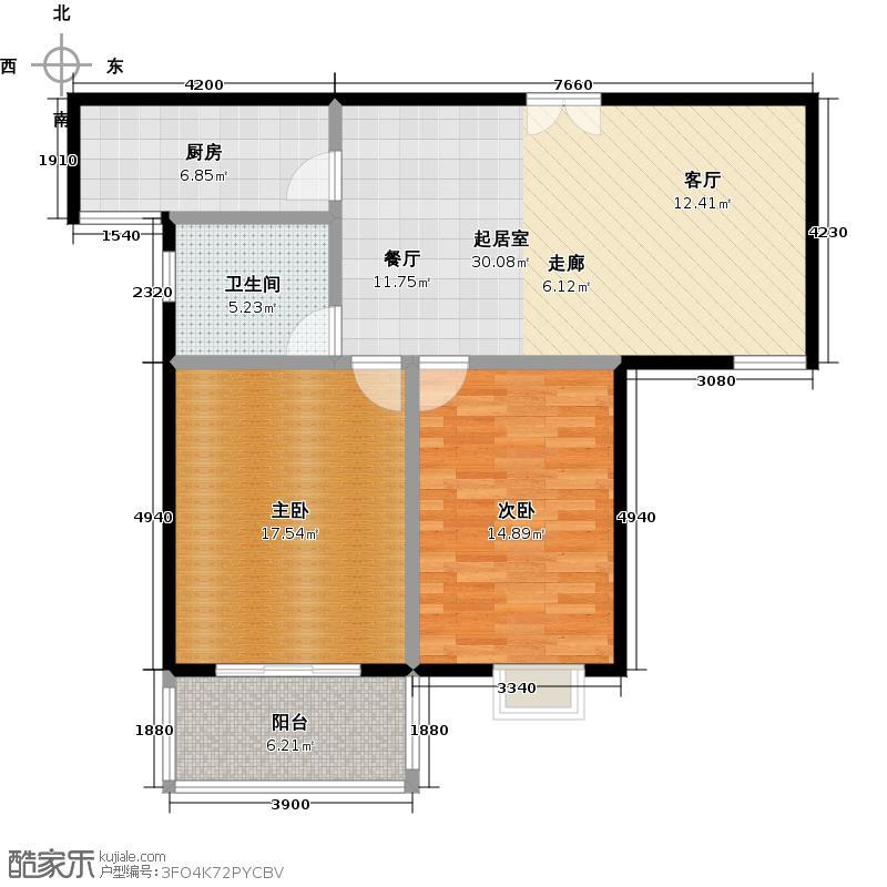 提香湾户型2室1卫1厨