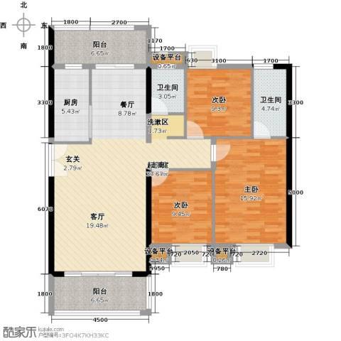 富雅国际3室0厅2卫1厨145.00㎡户型图