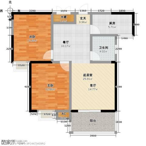 龙翔・中央公馆2室0厅1卫1厨98.00㎡户型图