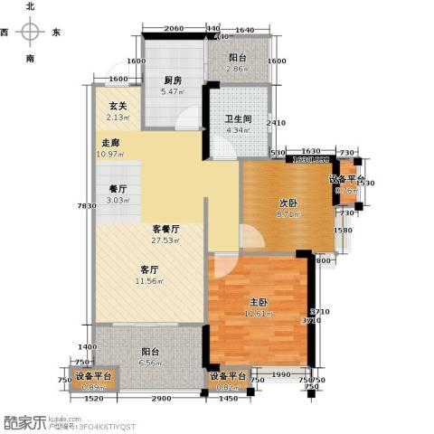 拓新御府2室1厅1卫1厨77.00㎡户型图