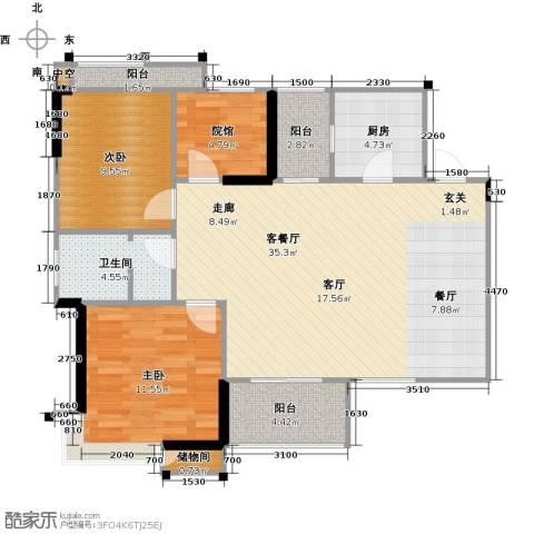 拓新御府2室1厅1卫1厨94.00㎡户型图