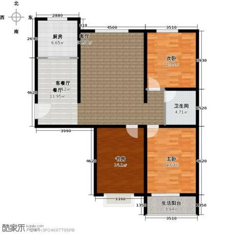 恋日晴园3室1厅1卫1厨136.00㎡户型图