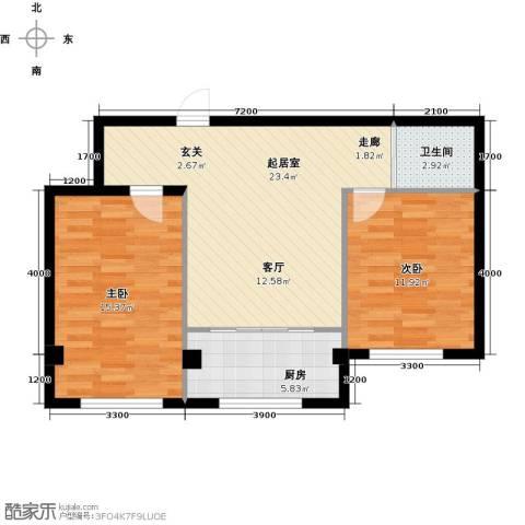 蓝山国际2室0厅1卫1厨83.00㎡户型图