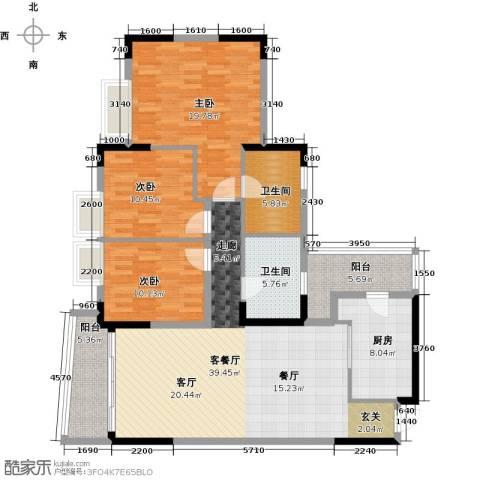 银信花园3室1厅2卫1厨125.00㎡户型图