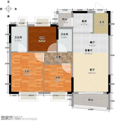 银信花园3室1厅2卫1厨101.00㎡户型图