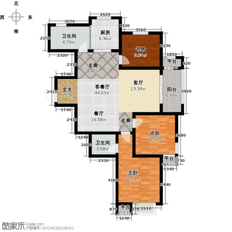 德馨筑家122.00㎡F户型3室2厅2卫