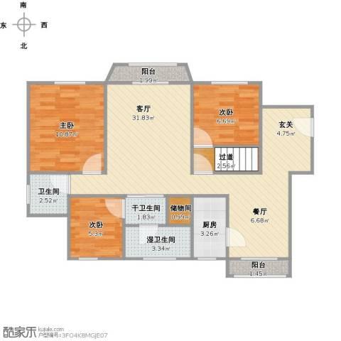 绿洲紫荆花园3室1厅1卫1厨100.00㎡户型图