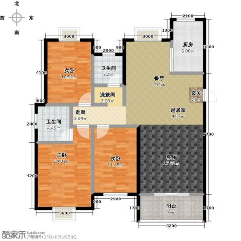 金猴北城名居3室0厅2卫1厨142.00㎡户型图