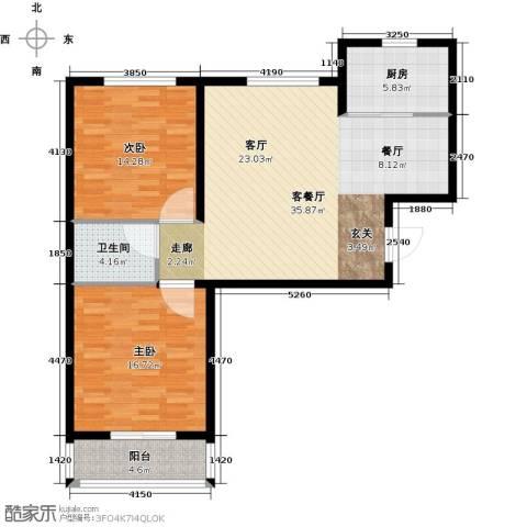 东方世纪城2室1厅1卫1厨91.00㎡户型图