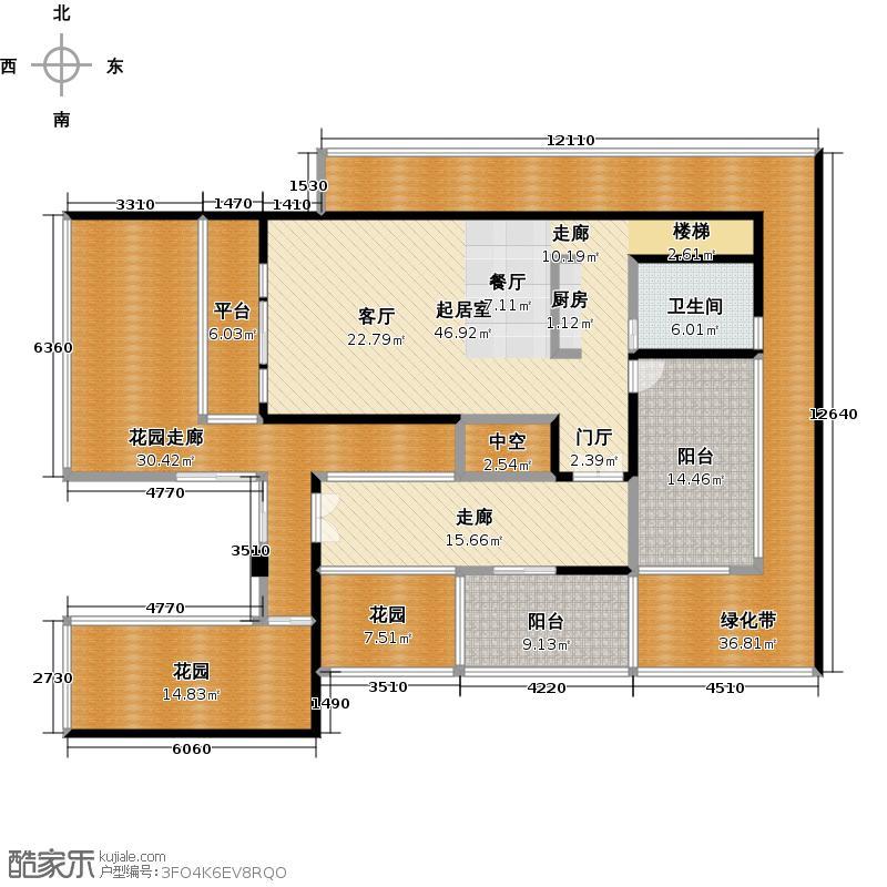 中信庐山西海129.00㎡一期桃花里A1小独栋首层户型1室2厅2卫
