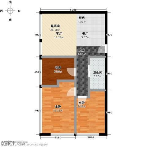 滨海国泰大厦3室0厅1卫0厨84.00㎡户型图