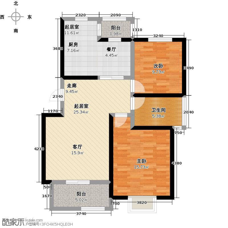 大地十二城二室二厅一卫92.08平米户型