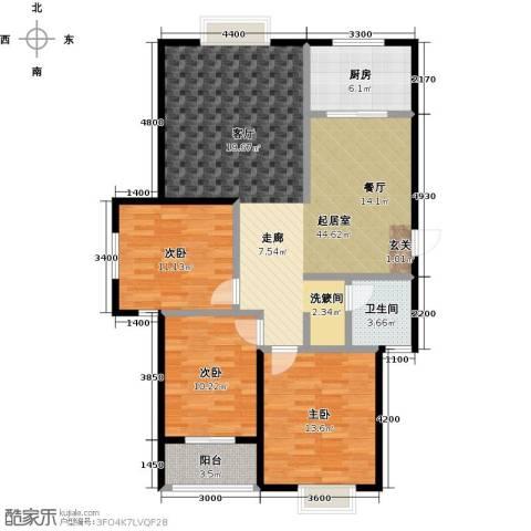 金猴北城名居3室0厅1卫1厨130.00㎡户型图