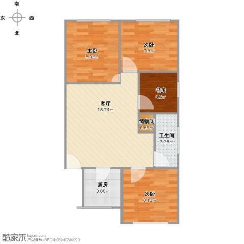 芳秀公寓4室1厅1卫1厨75.00㎡户型图